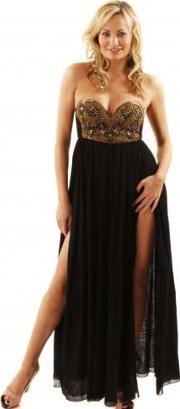Maxi Goldrush Embellished Bustier Black Cotton Maxi Dress