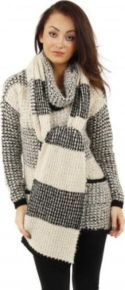 Cula Black Beige Knit Striped Scarf