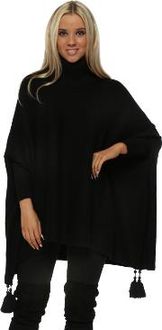 Black Knitted Tassel Pearl Polo Poncho Jumper