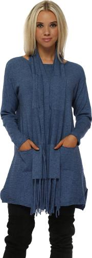 Blue Soft Knit Ribbed Tunic Jumper Scarf