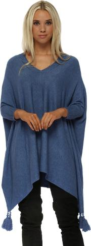 Blue V Neck Knitted Tassel Pearl Poncho Jumper