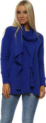 Cobalt Blue Button Side Jumper With Pearl Tassel Scarf