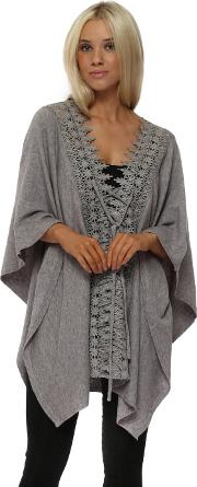 Grey Knitted Crochet Lace Panel Tie Up Poncho
