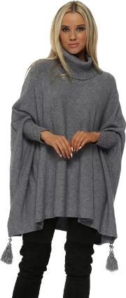 Grey Knitted Tassel Pearl Polo Poncho Jumper