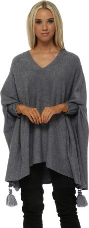 Grey V Neck Knitted Tassel Pearl Poncho Jumper