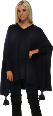 Navy Blue V Neck Knitted Tassel Pearl Poncho Jumper