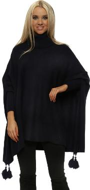 Navy Knitted Tassel Pearl Polo Poncho Jumper