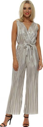 Gold Metallic Pleated Low V Jumpsuit