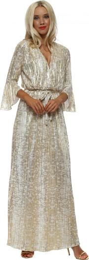 Pale Gold Pleated Wrap Maxi Dress
