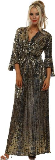 Pewter Gold Pleated Wrap Maxi Dress