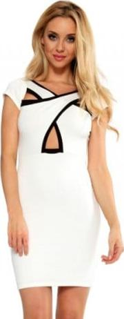 Cream Black Cross Over Front Dress