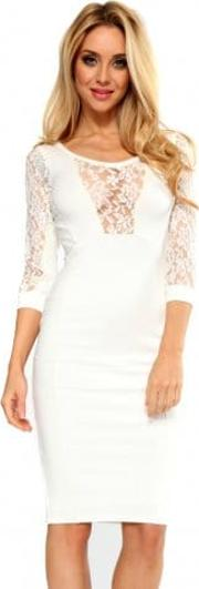 Cream Midi Dress With Cream Lace Inserts