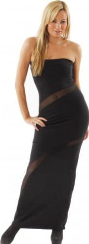 Dress Black Mesh Slash Curve Maxi Dress