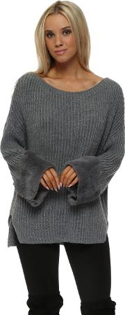 Grey Chunky Knit Jumper With Faux Fur Cuffs