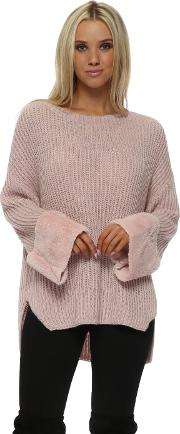 Pink Chunky Knit Jumper With Faux Fur Cuffs