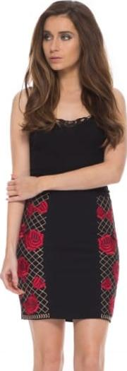 Torgan Red Roses Embroidered Black Mini Skirt