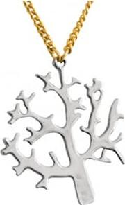 Silver Tree Of Life With Gold Chain Necklace