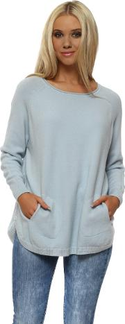 Baby Blue Button Side Two Pocket Jumper