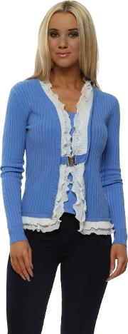 Cornflower Blue Ribbed Pearl Trimmed Two In One Cardigan