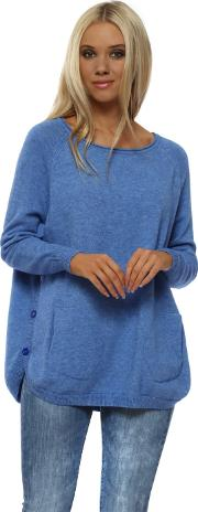 Mid Blue Button Side Two Pocket Jumper