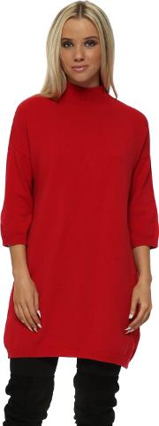 Red Polo Neck Shift Jumper Dress