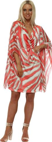 Coral Blurred Stripe Kaftan Tie Dress