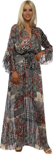 Floral Jacquard Print Crossover Maxi Dress