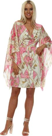 Pink Chain Print Kaftan Tie Dress