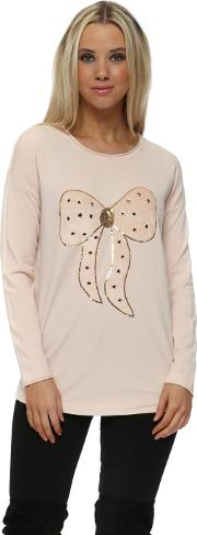 Baby Pink Fluffy Sequinned Bow Jumper
