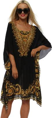 Baroque Noir Gold Silk Drawstring Kaftan