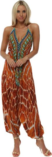 Sahara Amber Animal Print Halter Neck Jumpsuit