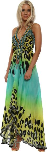 Syros Aquamarine Leopard Crystal Halterneck Maxi Dress