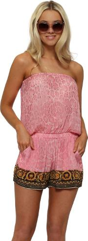 Wild Baroque Noir Baby Pink Gold Playsuit