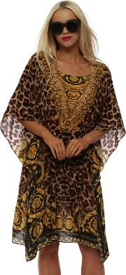 Wild Baroque Noir Brown Gold Silk Drawstring Kaftan