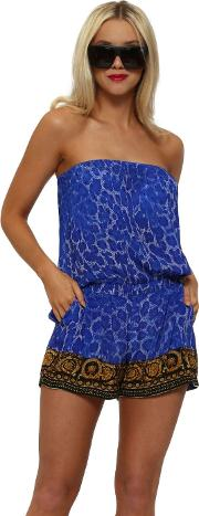 Wild Baroque Noir Cobalt Gold Playsuit