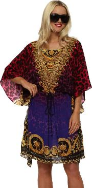 Wild Baroque Noir Ruby Gold Silk Drawstring Kaftan