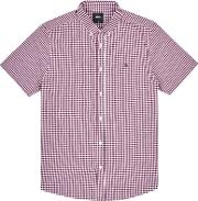 Berry Red Short Sleeve Gingham Shirt