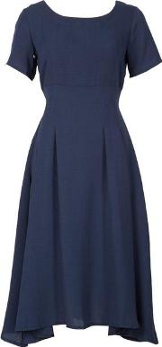 Feverfish Navy High Waist Fit And Flare Dress