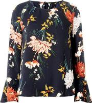 Only Navy Floral Flute Sleeve Top