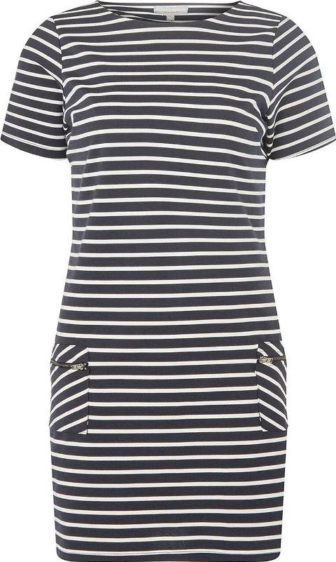 Petite Navy And White Striped Shift Dress