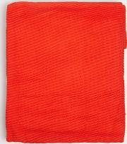 Red Pleated Scarf