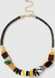 Resin Stripe Collar Necklace