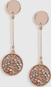 Rose Gold Chushed Paper Drop Earrings