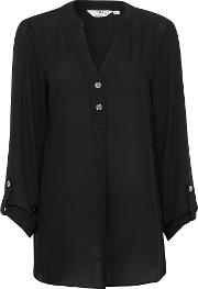 Tall Black Roll Sleeve Blouse