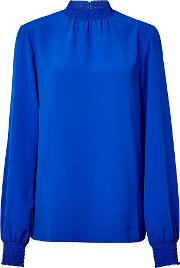 Tall Blue Shirred Blouse