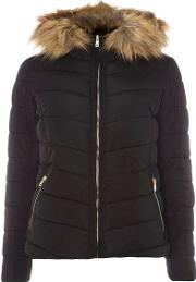 Womens Only Black Faux Fur Hood Padded Jacket