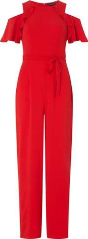 Womens Red Ruffle Front Jumpsuit