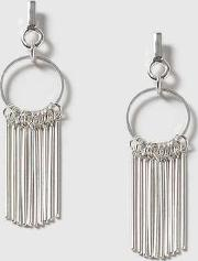 Womens Silver Circle Stick Earrings