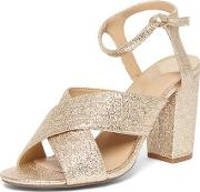 Womens Wide Fit Gold 'spring' X Front Sandals