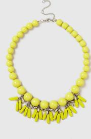 Yellow Eyelet Drop Beaded Necklace